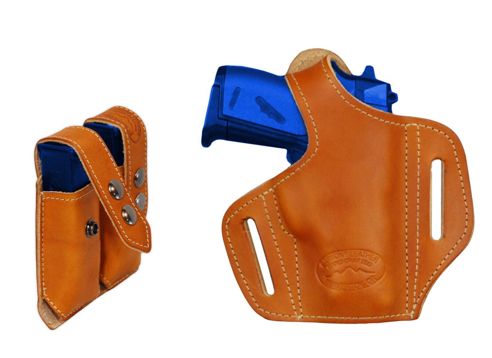 NEW Barsony Tan Leder Pancake Gun Holster + Mag Pouch Smith&Wesson 22 25 380