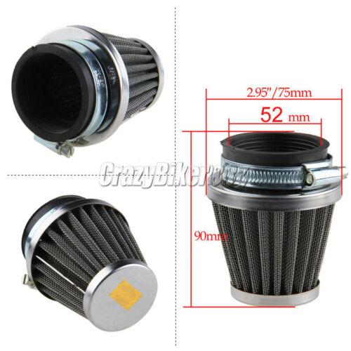 4x 52mm Universal Air Filters Pod Fit Kawasaki Suzuki Yamaha Ninja ZX600R ZX550