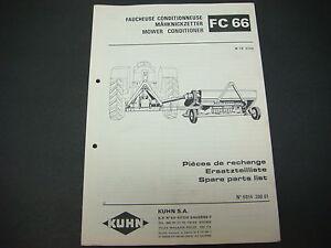kuhn manual mower conditioner fc 66 spare parts list no 9014 200 01 rh ebay com