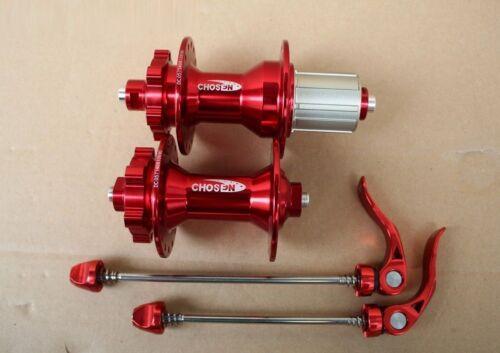 CHOSEN Bearing Hubs 32H MTB Road Bike disc brake w//Skewers Front Rear set RED