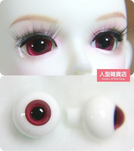 16mm Glass Eyes For 1//3 1//4 1//6 BJD Doll with Handled Sphericity A Pair of Red