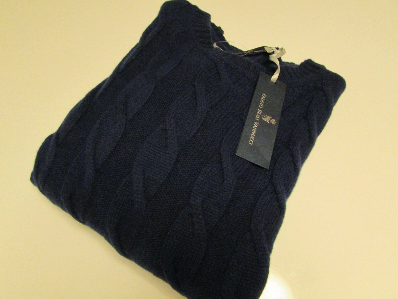 NWT Fausto Reali Vannucci Cable Knit Cashmere Blend Sweater   Size Medium