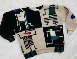 VINTAGE-GIL-AIMBEZ-80S-Size-Small-S-M-Oversized-Boxy-Wool-Pullover-Sweater