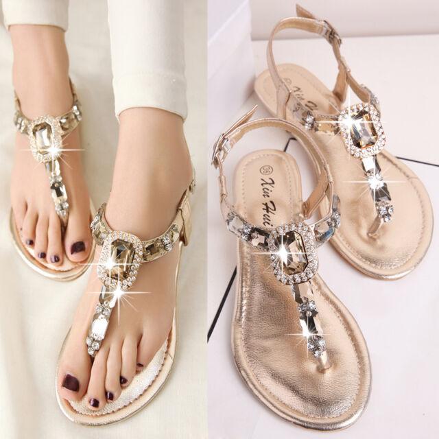 966fea2521b61 Women girls sandals flats summer rhinestone flat heel flip flops plus size