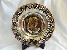 "Egyptian Brass Wall Decor Plate Queen Cleopatra Cut-out 11.5"""