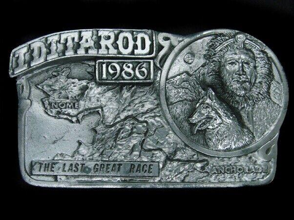 UD05140 VINTAGE 1986 **IDITAROD THE LAST GREAT RACE** BELT BUCKLE