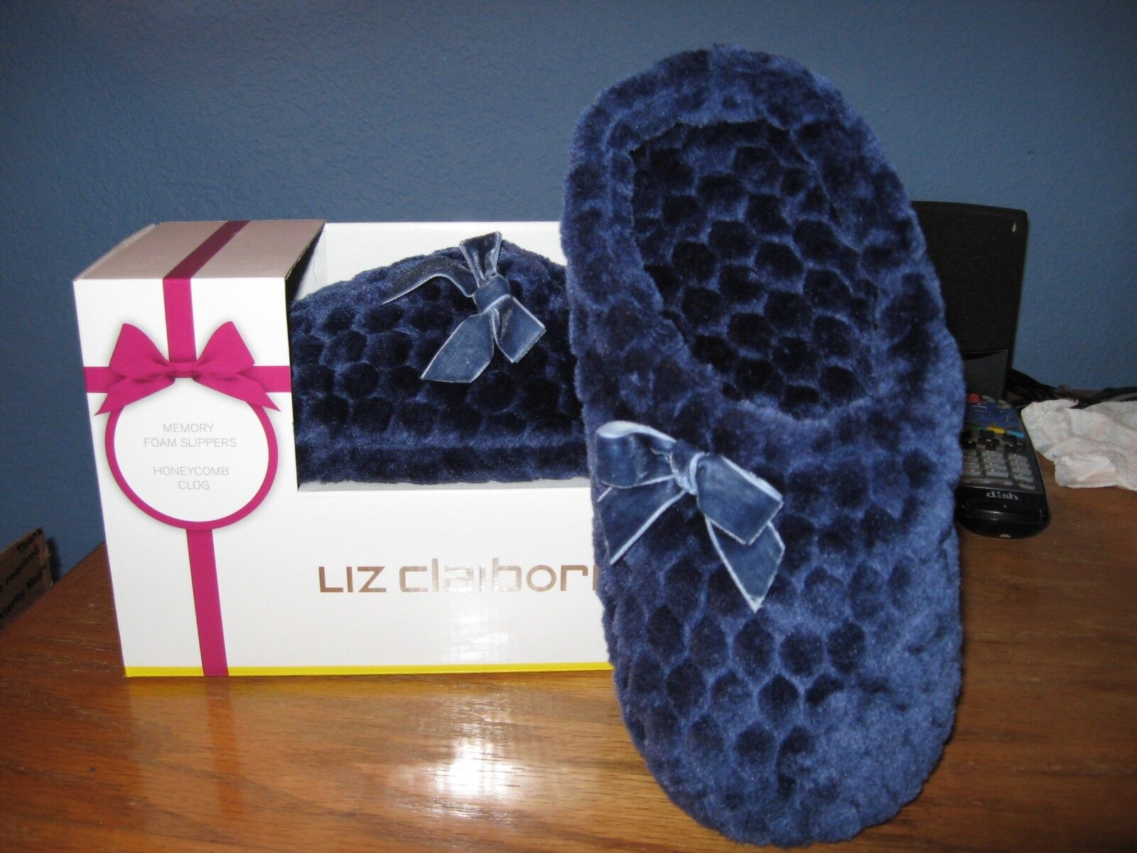 WOMENS SLIPPERS SIZE LARGE 9 10 DEEP BLUE CLOG SCUFFS SLIPPERS LIZ CLAIBORNE NWT