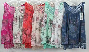 New-Italian-Ladies-Lagenlook-Quirky-Lace-Back-Summer-Sleeveless-Floral-Vest-Top