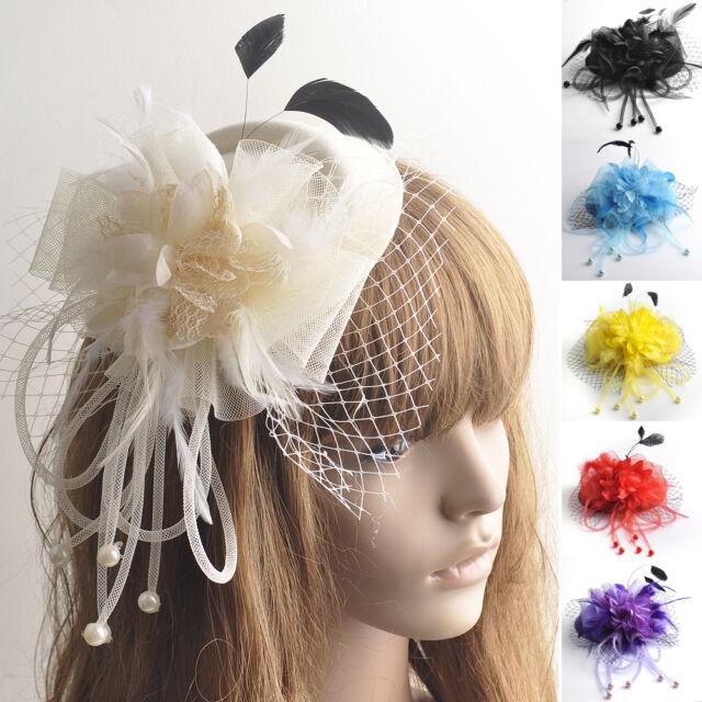 Women Hair Clip Flower Bead Wedding Cocktail Fascinator Veil Pillbox Hat Feather