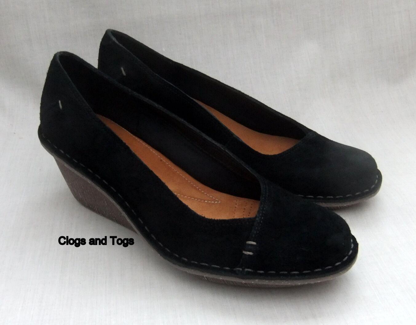NEW CLARKS HARLAN BEACH Damenschuhe BLACK SUEDE / WEDGE Schuhe SIZE 6.5 / SUEDE 40 7c8ea6
