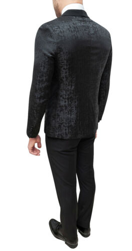 Abito completo uomo sartoriale nero damascato elegante raso smoking cerimonia