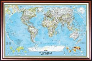 Push Pin World Map By National Geographic Framed Walnut Gold Frame