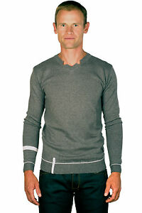 Ugholin-Pull-Homme-Fin-Col-V-Gris-Manches-Longues
