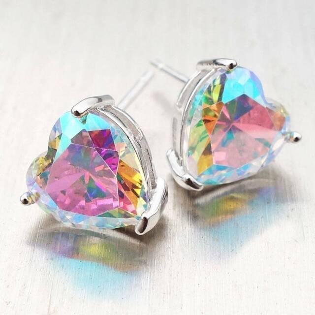 Women Shiny Heart Shaped Colorful Rainbow Ear Stud Earrings Jewelry Gift UK