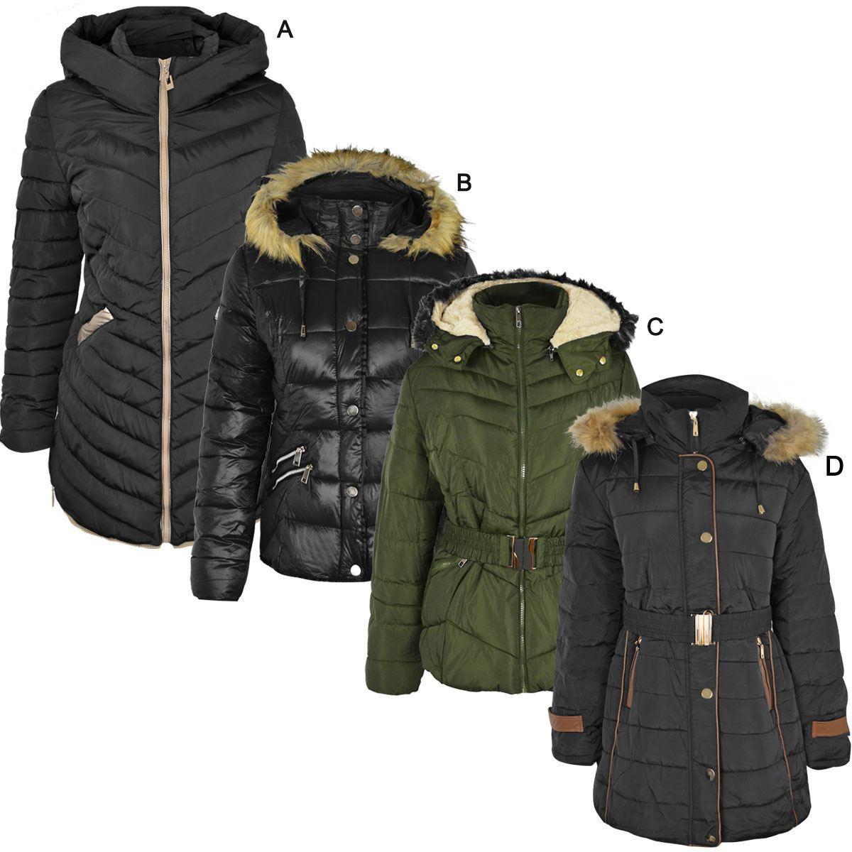 Manteau Femme Manteau Veste D hiver À Capuche Chaud Épais Matelassé Matelassé Taille UK