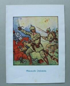 Patriotik-Kunst-Druck-1914-1918-L-Berwald-Stuermende-Infanterie-Soldaten-1-WK-WWI