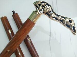 Mermaid Brass Head handle Vintage Style Handle Wooden Walking Stick Shaft Cane