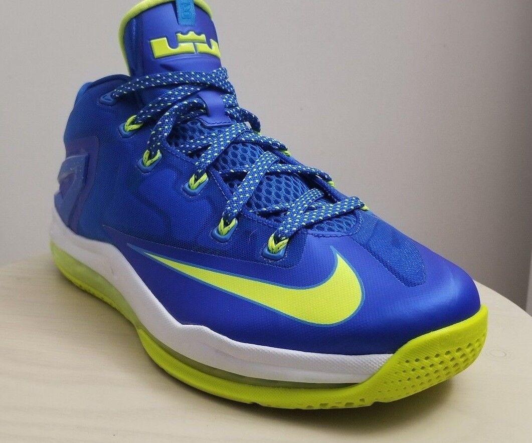 7788d4c86080b Nike Air Air Air Max Lebron XI 11 Low Size 9.5 SPRITE Hyper Cobalt Volt Blue  642849 471 98a767