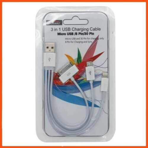 24 x 3 IN 1 USB CHARGING CABLE 830 PIN Phone Charger Dock Connector Adapter