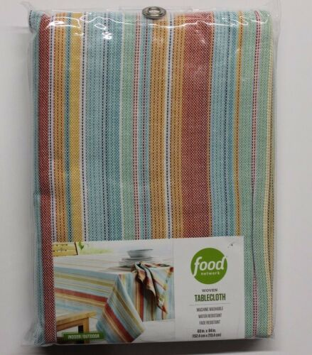 """Food Network Indoor Oblong 60/"""" x 84/"""" Outdoor Woven Tablecloth Coral Stripe"""