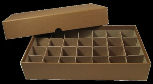 28 Tubes Rock Mineral Fossil Gemstone Crystal Agate Tube Storage Box Organizer