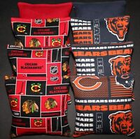All Weather Chicago Bears & Blackhawks Cornhole Bean Bags Plastic Waterproof