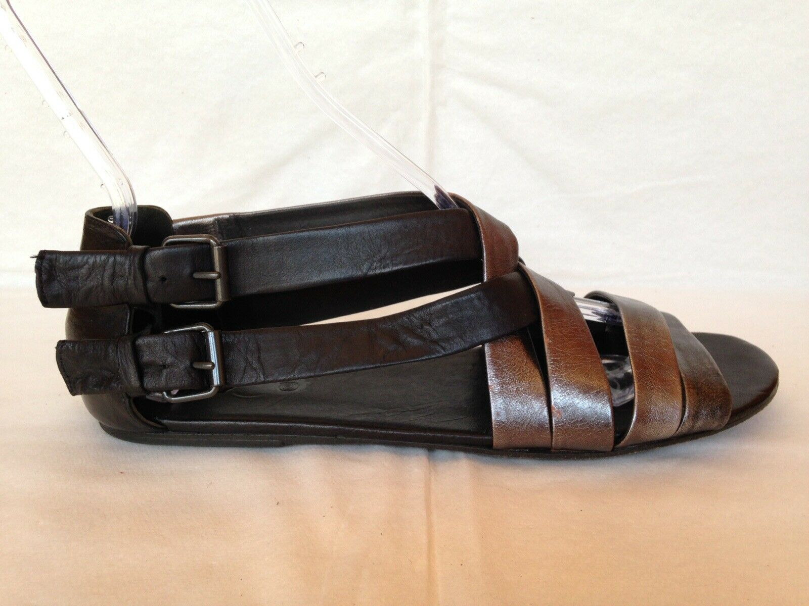 Marsell black silver pewter strappy sandals flat 41 10 M double buckle