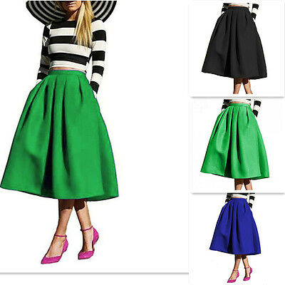 New Hepburn Vintage High Waist A-line Ball Gown Midi Pleated Skater Swing Skirts