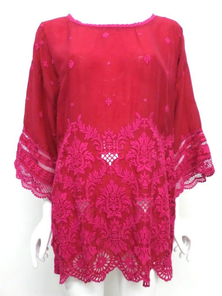 NWT Johnny Was EmbroideROT Scalloped Hem Top - 1X - JW57351118