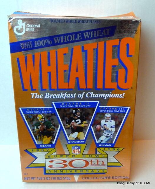 Wheaties Super Bowl 30th Anniversary Box Aikman Starr Bradshaw 1995