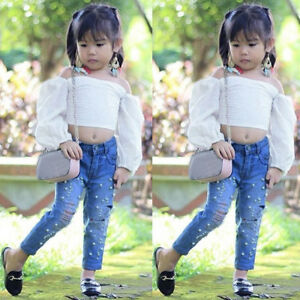 Toddler Baby Girls Ruffle Sleeve Shirt Tops Pearl Denim Jeans Outfit Clothes Set