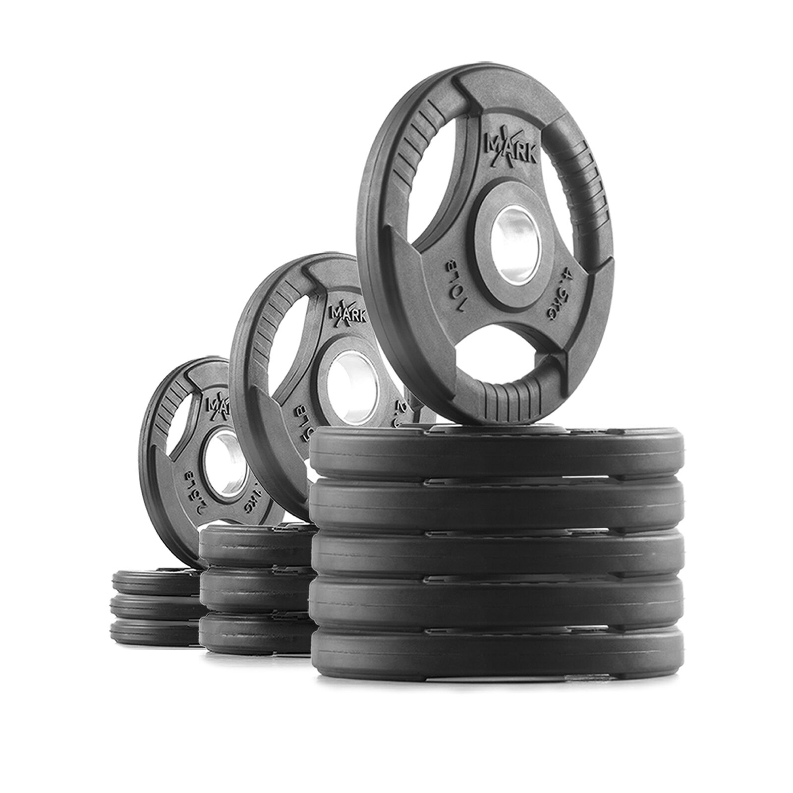 XMark Rubber Coated Tri-Grip Olympic Weight Plates XM-3377-BAL-90_90 lb. Set