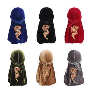 HOT-Unisexe-Hommes-Femmes-dragon-velours-Bandana-Chapeau-Turban-Doo-Durag-CAP-coiffure
