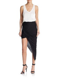 2da45a6f36 Image is loading Helmut-Lang-Kinetic-Jersey-Asymmetrical-Wrap-Skirt-Draped-