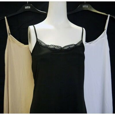 New ex M&S Cool Comfort Lace Trim Neckline Soft Stretch Full Slip / Nighty