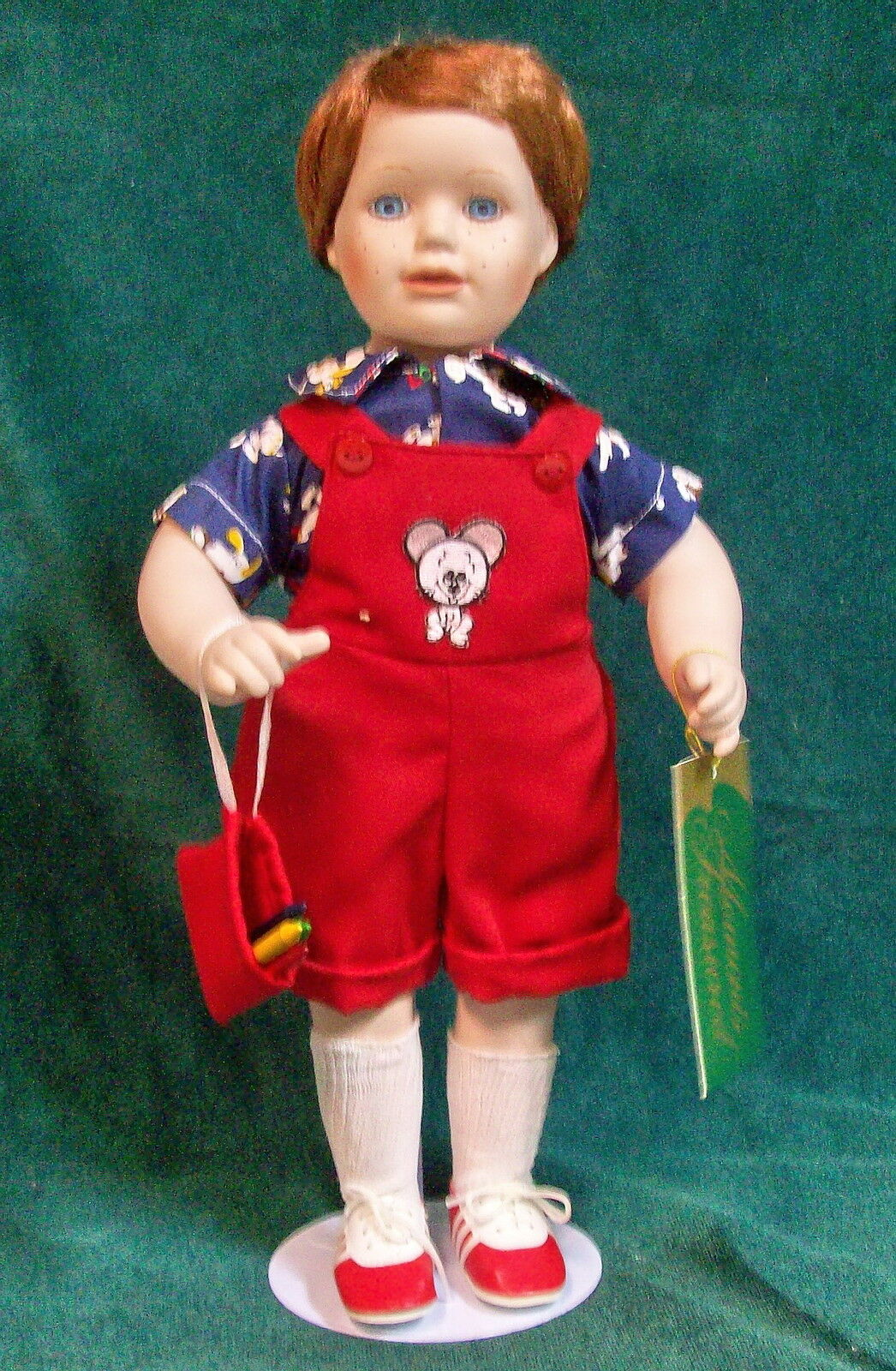 *SETH* Little Boy Doll w/blu EYES, SNOOPY DOG SHIRT & CRAYONS MOUomoTS TREASUrosso