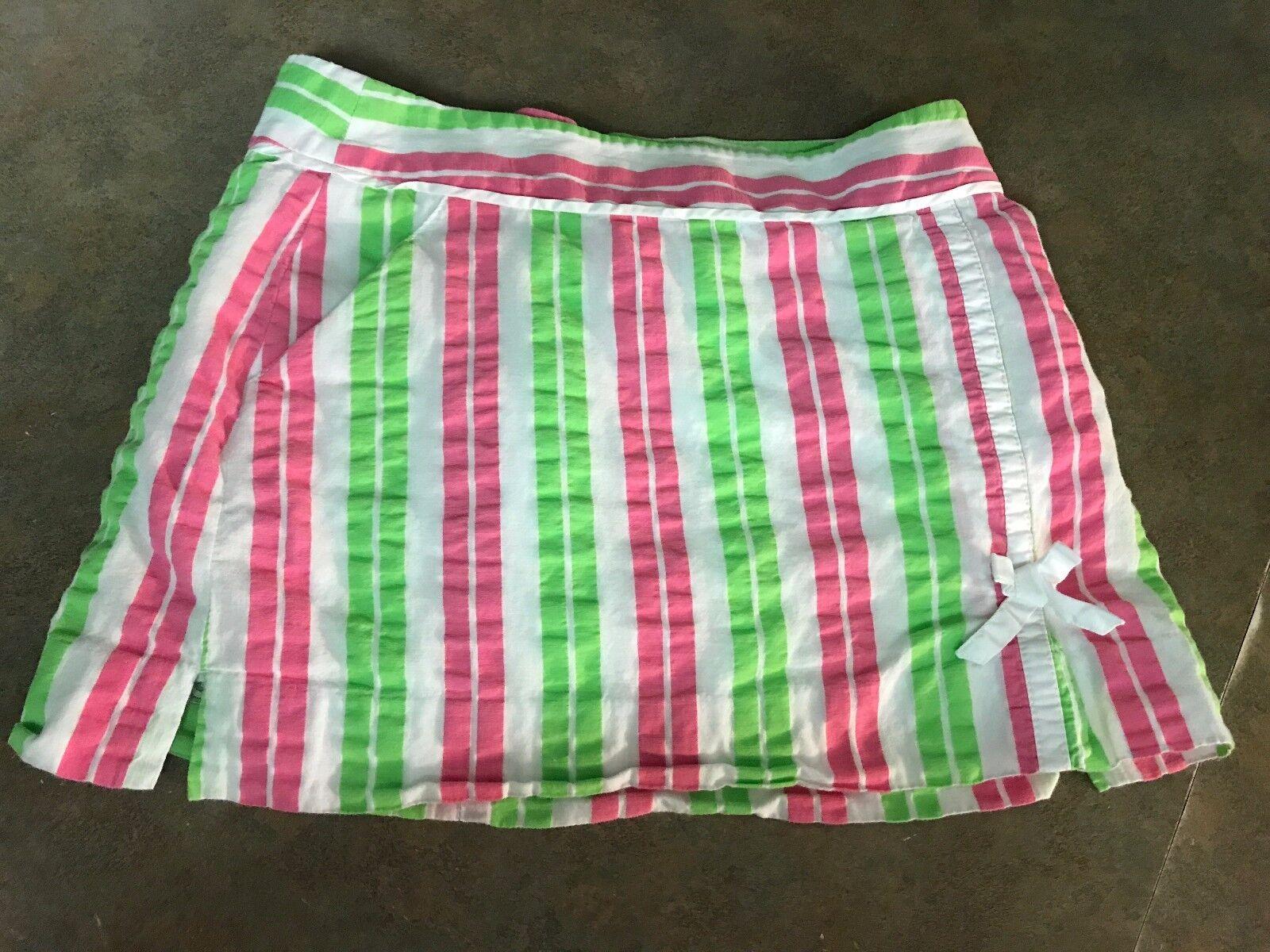 Vintage Lilly Pulitzer Originals White, Pink and Green Stripe SKORTS Size 0