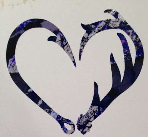 "NEW Antler Fishing Hook Heart Decal 5/"" Camo Hunting Muddy Outdoor Country Girl"