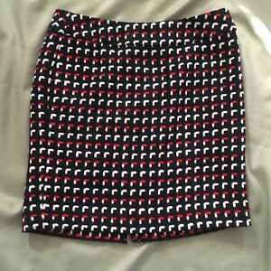 Ann-Taylor-Loft-10P-Wool-Skirt-Woman-039-s-Red-Black-Office-Career-Evening-NWT