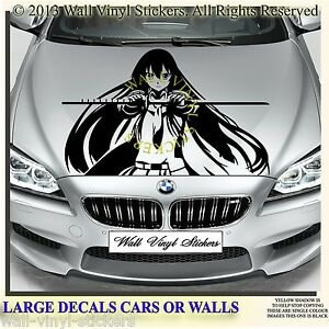 BONNET DECALS STICKERS CAR ANIME STRIPING VEHICLES WALLS GIRL FACE - Car anime stickers