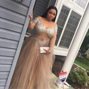 Details about Champagne Tulle Woman Prom Dress Beading Party Evening  Dresses Gowns Plus Size
