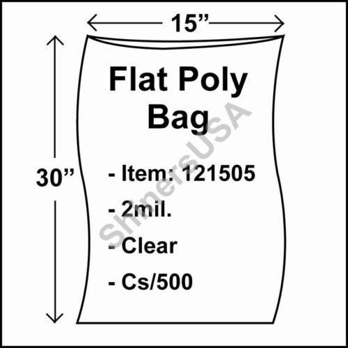 Flat Poly Plastic Bag 2-mil 15x30 cs//500 Clear Packaging Heat Seal FDA 121505