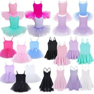 Kids-Girls-Ballet-Leotards-Dress-Gymnastics-Dance-Tutu-Skirts-Performance-Dress
