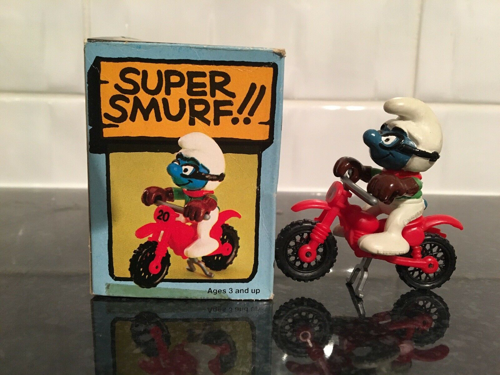 Vintage Peyo Schleich Motocross súper Pitufo SCHTROUMPF Schlumpf.