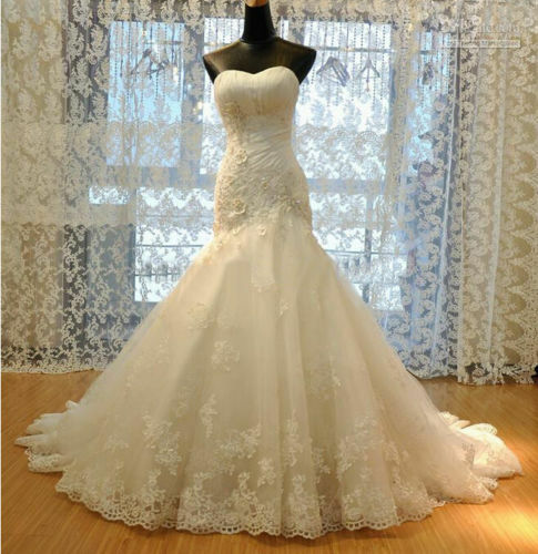 Lace Gorgeous White/Ivory Mermaid Wedding Dresses Bridal Dress Plus Size  Custom
