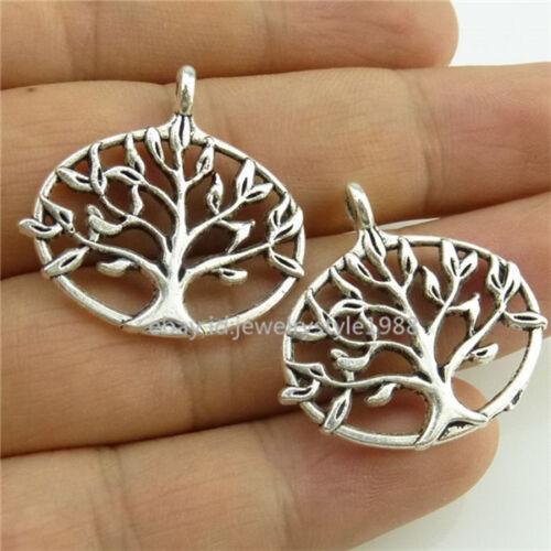 14431 15PCS Plaqué Argent Vitality Tree of Life Wishing Tree Pendentif Antique