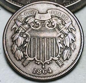 1864 Two Cent Piece 2C FULL MOTTO Good Date Civil War Era CHOICE US Coin CC6491