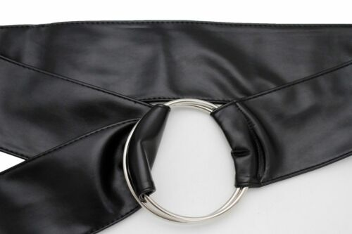 Women Black Faux Leather High Waist Hip Wide Fabric Fashion Belt Ring Size M L