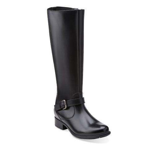 Clarks Plaza Piloto Para Mujer botas De Cuero Negro