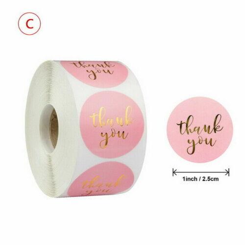 500Pcs//Roll Thank You Sticker Wedding Birthday Party Flower Label Decor DIY Gift